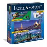 Clementoni-39277 Mania Kit : 2 Puzzles + 1 Tapis de Puzzle 1500 Pièces