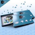 Puzzle  Grafika-00572 Lot de 3 Boites de Tri Bleues - 24 x 22 x 2.5 cm