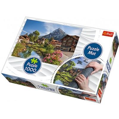 Trefl-90724 Tapis + Puzzle - Chalets dans la Montagne